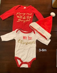 Christmas onesies & baby Santa hat; for 3-6 months