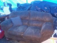 brown fabric 3-seat sofa and loveseat