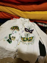 white and multicolored collared button-up shirt