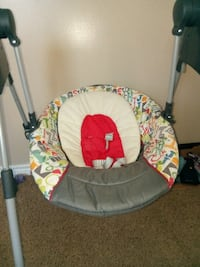 baby's white and red swing chair HOUSTON