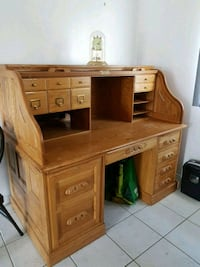 brown wooden double pedestal desk Edmonton