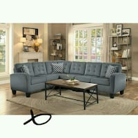 Sinclair Gray Sectional with Pillows   1201 mi
