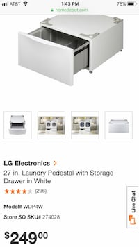 LG 27 inch Laundry pedestal with storage drawer in white  Pasadena, 21122