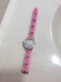 round silver-colored analog watch with pink strap Hagerstown, 21740