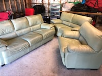 Green leather 3-piece sofa set Brentwood, 11717
