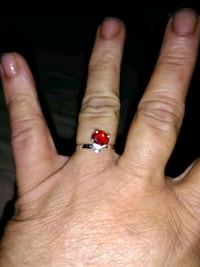 Women's Red Stone Sterling Silver Ring
