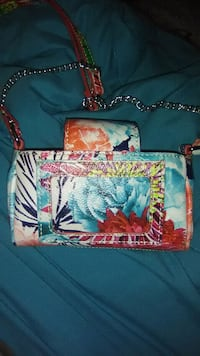 blue and red floral print tote bag Milford, 45150