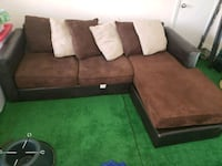 brown suede sectional couch with throw pillows Mableton, 30126