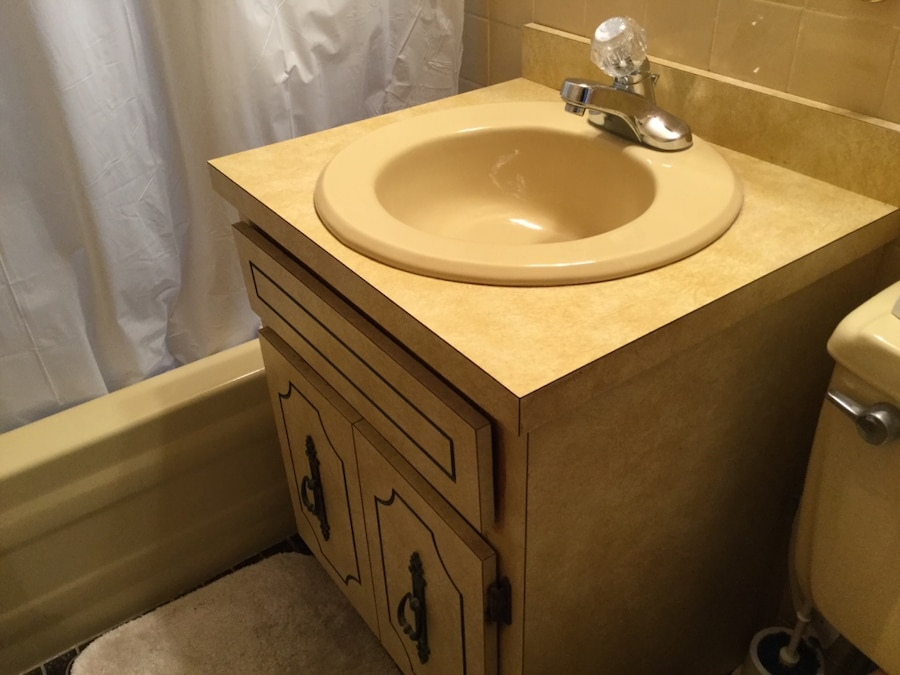 used 24 u201d vanity with sink and faucet light yellow formica for sale rh gb letgo com