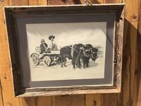 man riding carriage painting with brown wooden frame Sacramento, 95820