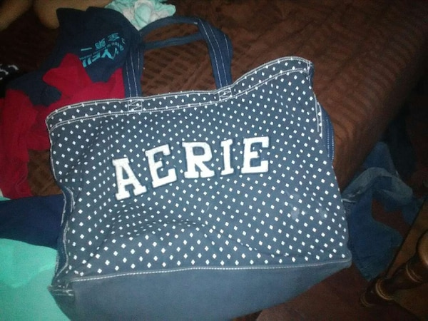Blue And White Polka Dot Print Aerie Tote Bag