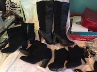 1-Pair of black leather knee-high boots and 3 pair black suede ankle boots Northport, 11768
