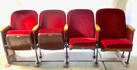 Classic antique red velvet theater chairs. Excellent condition, 4 wide that flip up Bloomfield Hills, 48301