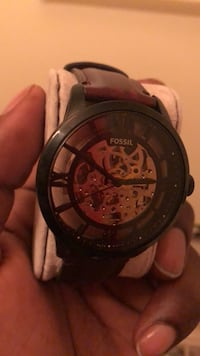 round black chronograph watch with black leather strap Lindenwold, 08021