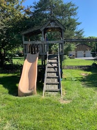 Sturdy swing set. Just needs cleaning. Has swing, Rick wall, ramp, and swings Yardley, 19067