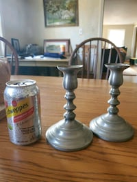 Pewter candle stick holders