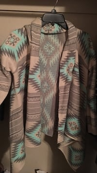 women's white, blue, and black ikat cardigan Wichita Falls, 76310