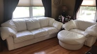 2 white leather couches and 2 white leather chairs with haseks Stoneham, 02180