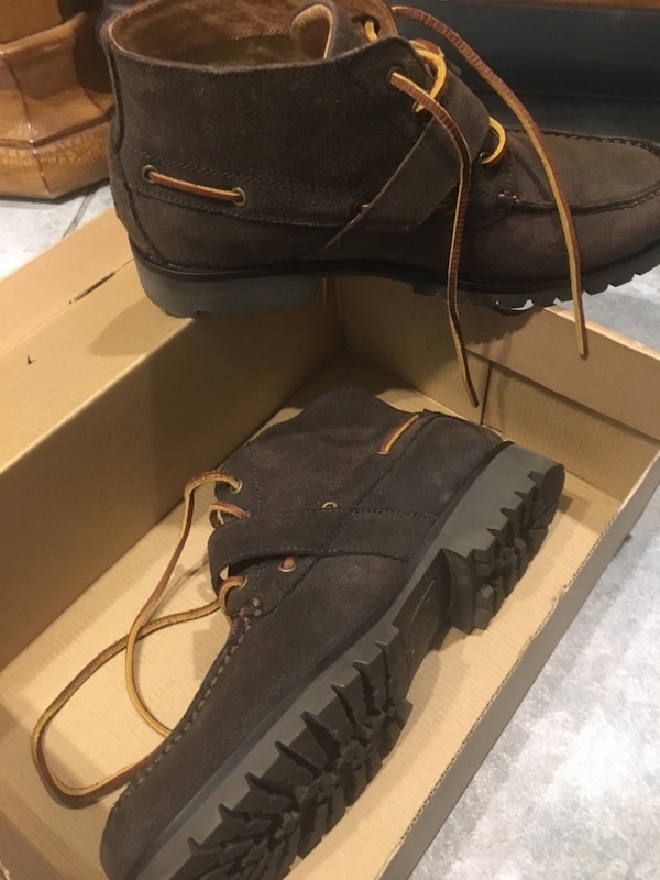 Brown suede polo boots