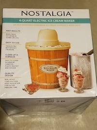 Nostalgia 4 Quart Electric Wood Bucket Ice Cream Maker Burlington