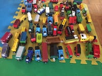 Assorted color wooden Thomas train tracks and wagons Mississauga, L4X 1V7