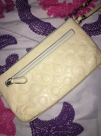 White and gray monogram coach leather wristlet Anaheim, 92802
