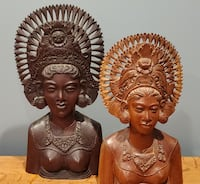 A Set Of Two Antique Balinese Janger Dancers Hand-Carved Tysons
