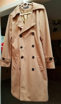 beige double-breasted coat