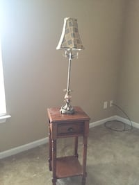 brown wooden table lamp base with white lampshade Calhoun, 30701