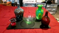 two green and red glass candle holders Chandler, 85226