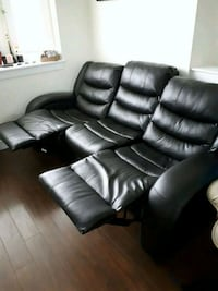 Theatre room black leather couch reclining 3745 km
