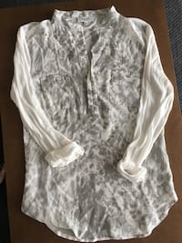 White and gray button up long sleeve top Edmonton, T5M