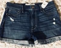 Women's blue denim short shorts.