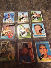 nine assorted baseball trading cards