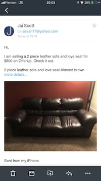 Almond brown leather 3-seat sofa screenshot the original price was $2300 Capitol Heights, 20743