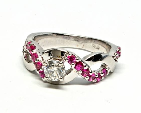Diamond/Ruby Twist Ring
