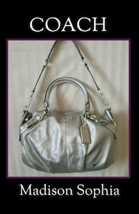 Authentic COACH Metallic Silver Leather Purse Spanaway, 98387
