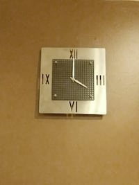 rectangular grey analog wall clock