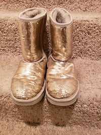 pair of silver UGG boots