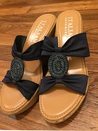 Italian Shoemakers Navy Blue Wedge Sandals