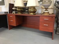 brown wooden single pedestal desk Vaughan, L4K 4V4