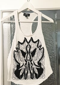 Bebe Black and White Printed Tank Top Size Xs/Small Toronto, M5V