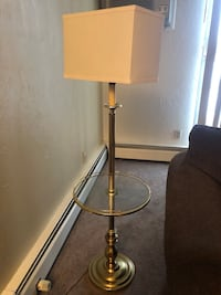 Brass lamp with built in table