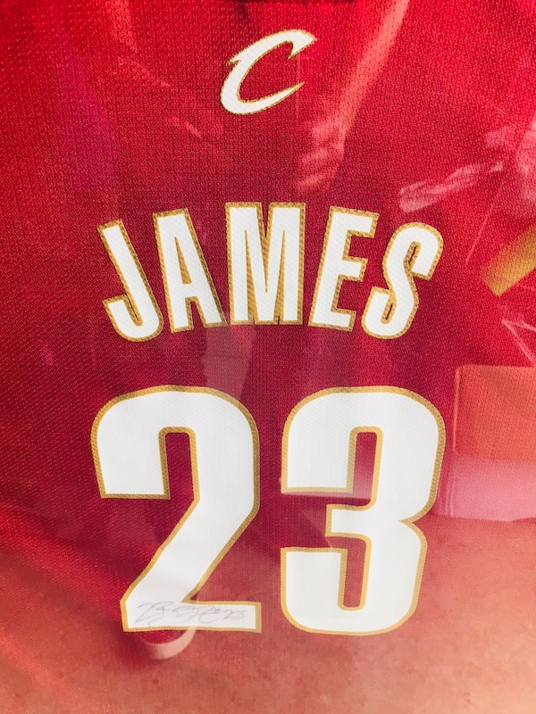 sale retailer c0c0e c8703 LEBRON JAMES signed framed Cleveland Jersey Rookie year