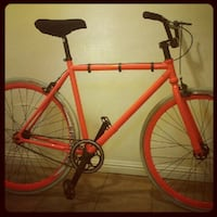 Fixed Gear Street Bicycle with Secret Hidden Compartment - Orange with Thin White Rocket Tires - Great Condition/Barely Used. Comes with heavy-duty, U-shaped bicycle lock.