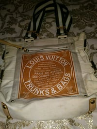 white and brown Louis Vuitton shoulder bag