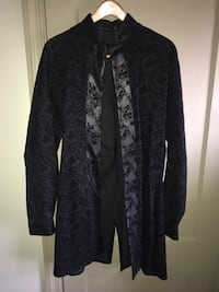 Custom made Velvet Floral print with leather trim, colonial style jacket Baltimore, 21216