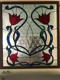 Stained glass window in oak frame. Very large, 8sq/ft Entiat, 98822