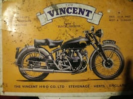 The vincent vintage motor cycle sign