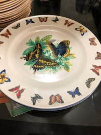 round white, blue, yellow, and green butterflies print ceramic 4 plate  4